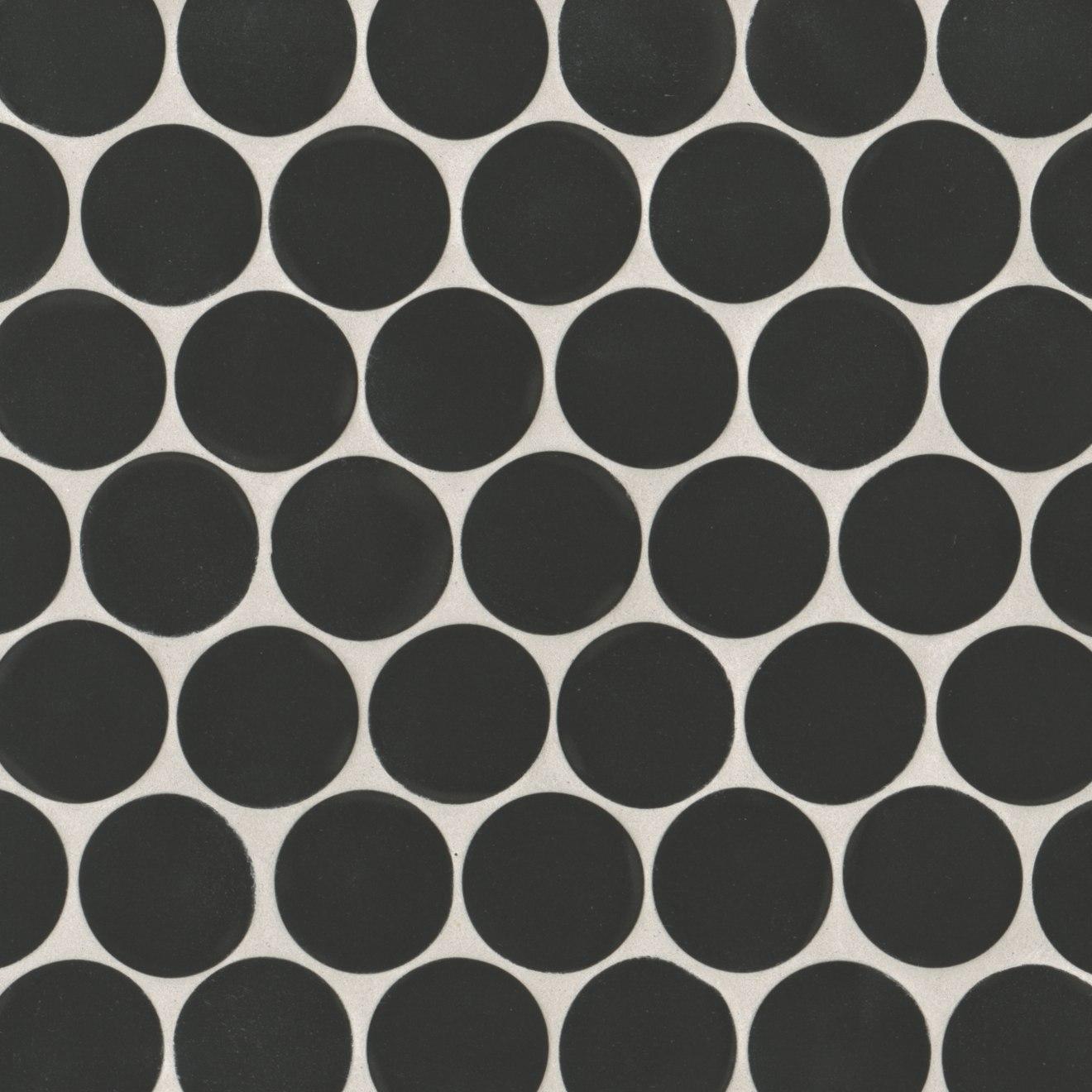 "Makoto 2"" Round Matte Porcelain Floor and Wall Mosaic in Kuroi Black"