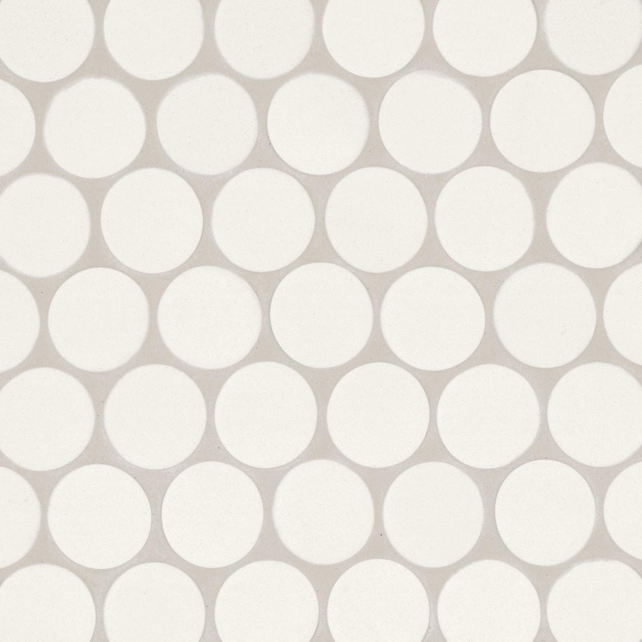 "Makoto 2"" Round Matte Porcelain Floor and Wall Mosaic in Shoji White"