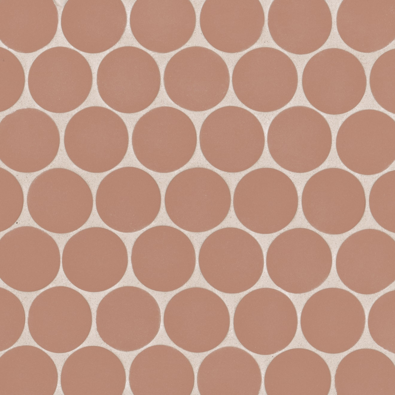 """Makoto 2"""" Round Matte Porcelain Floor and Wall Mosaic in Umi Terracotta"""
