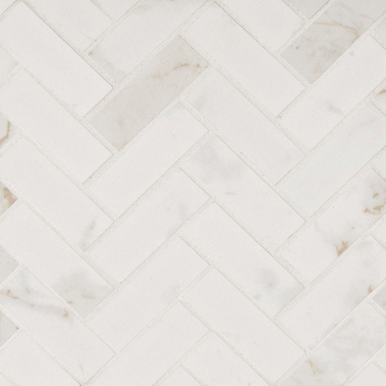"Marmi Di Napoli 1"" x 4"" Floor & Wall Mosaic in Calacatta"