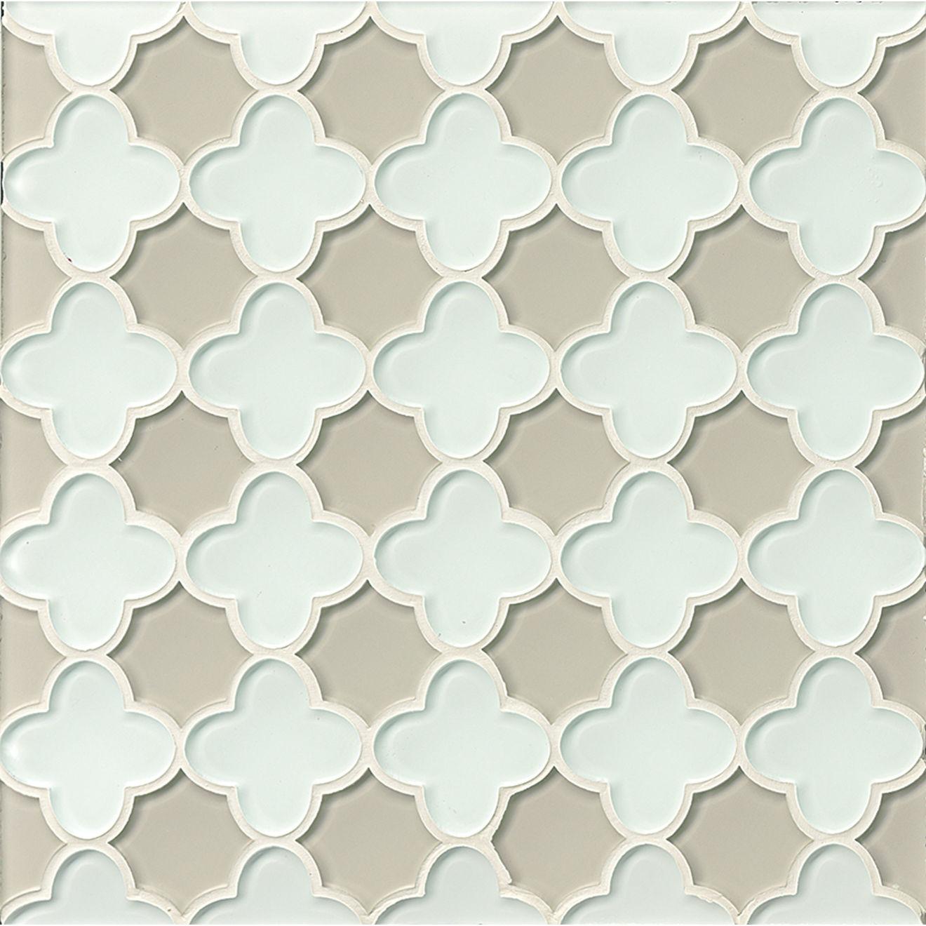 Mallorca Glass Wall Mosaic in White Linen / Mist