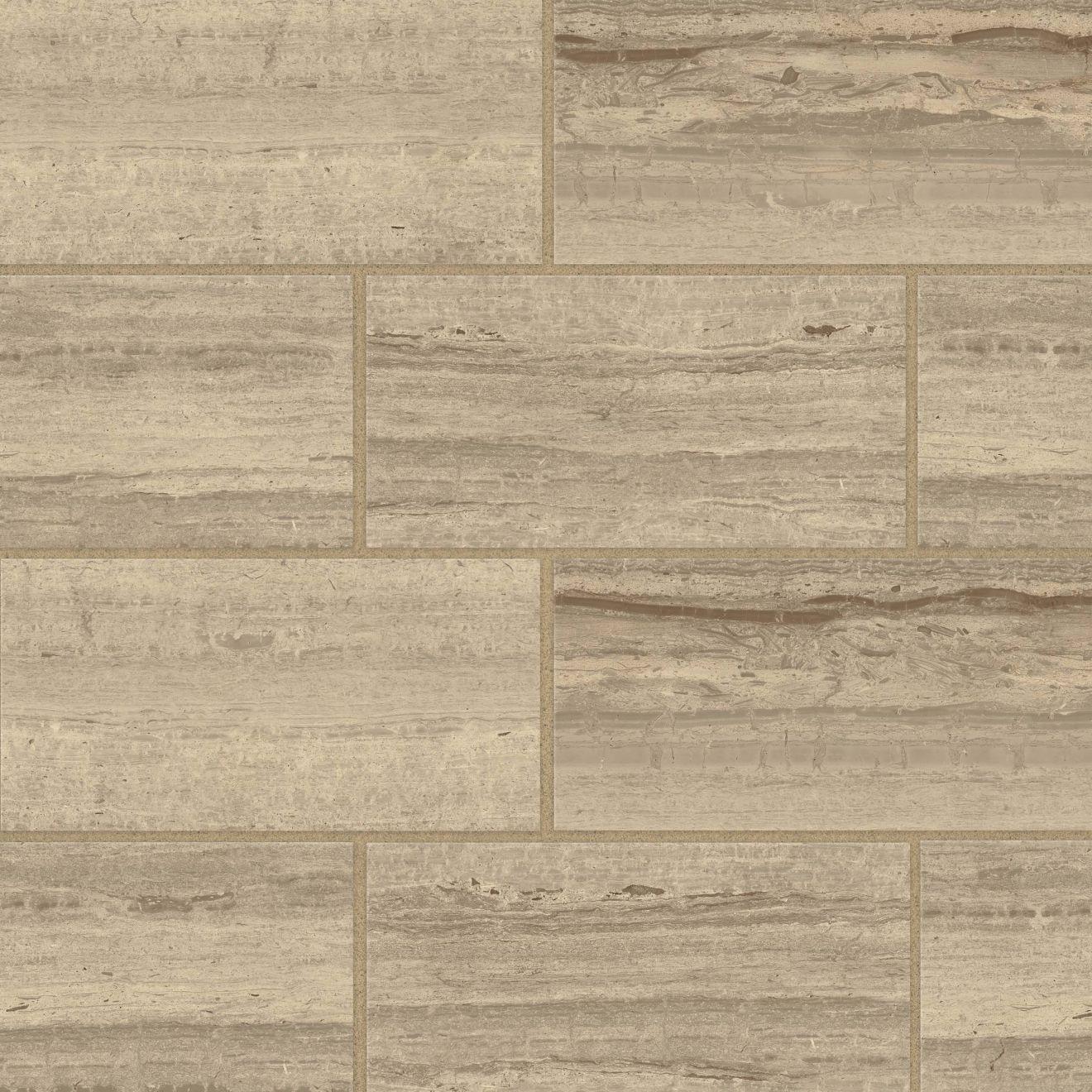 """Classic 2.0 12"""" x 24"""" Floor & Wall Tile in Travertino Chiaro"""