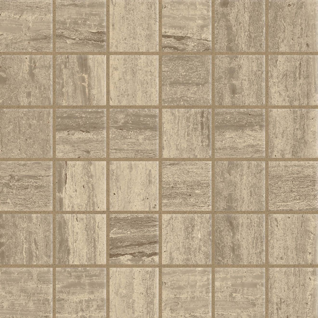 "Classic 2.0 2"" x 2"" Floor & Wall Mosaic in Travertino Chiaro"