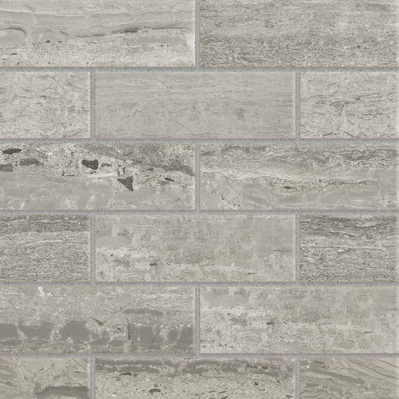 "Classic 2.0 2"" x 6"" Floor & Wall Mosaic in Travertino Grigio"