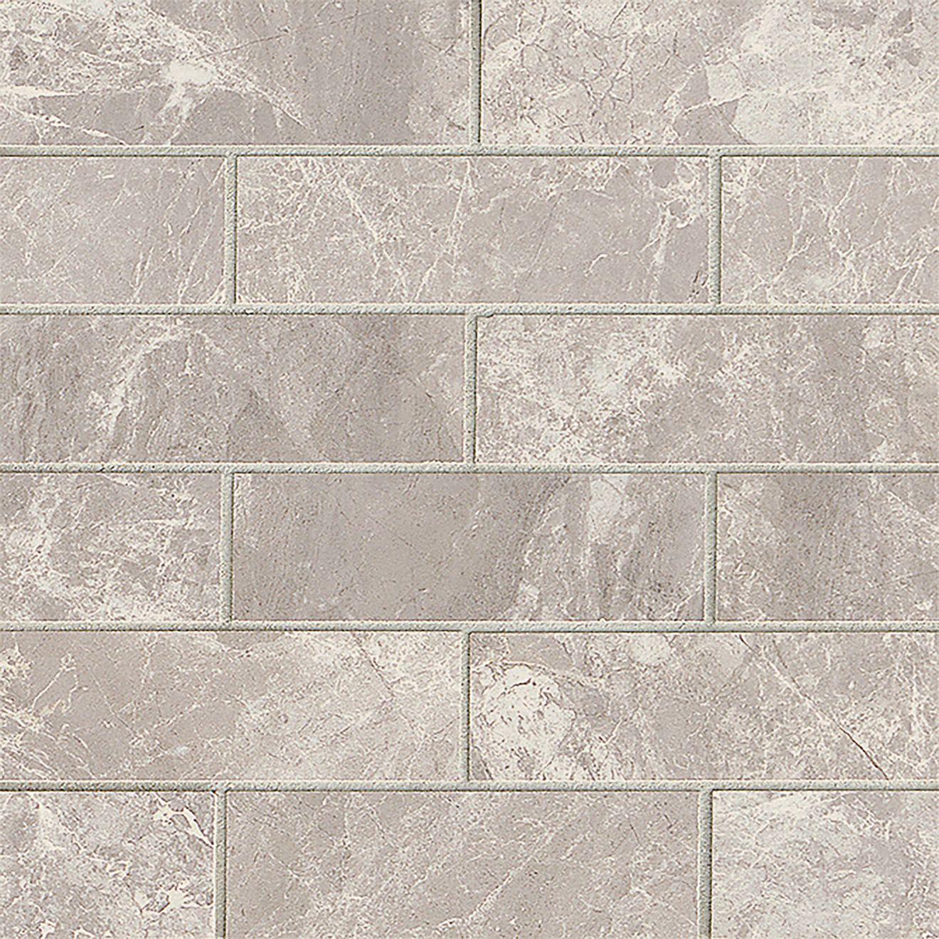 "Classic 2"" x 6"" Floor & Wall Mosaic in Bardiglietto"