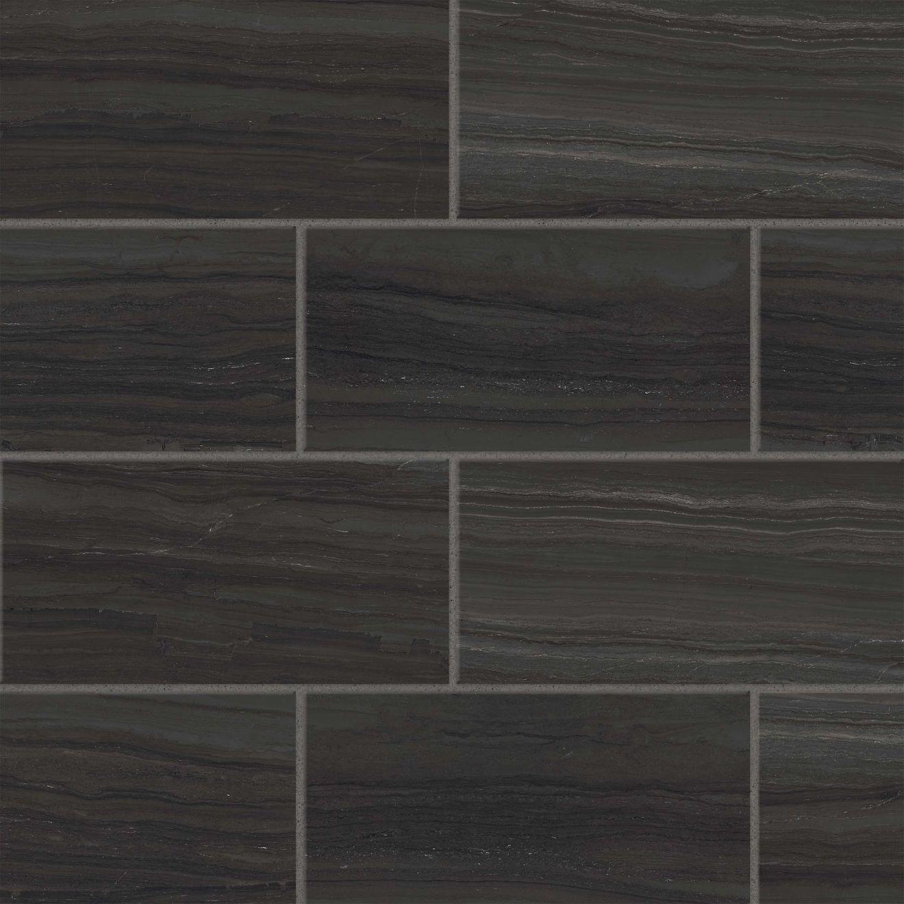 "Highland 12"" x 24"" Floor & Wall Tile in Black"