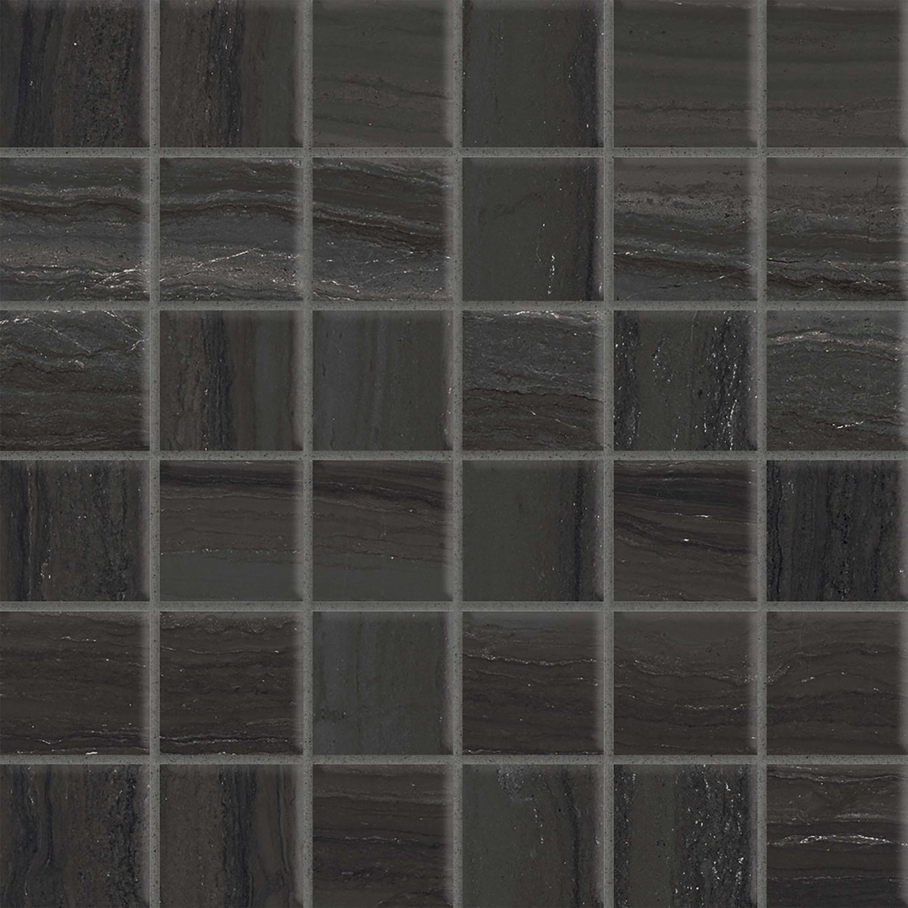 "Highland 2"" x 2"" Floor & Wall Mosaic in Black"