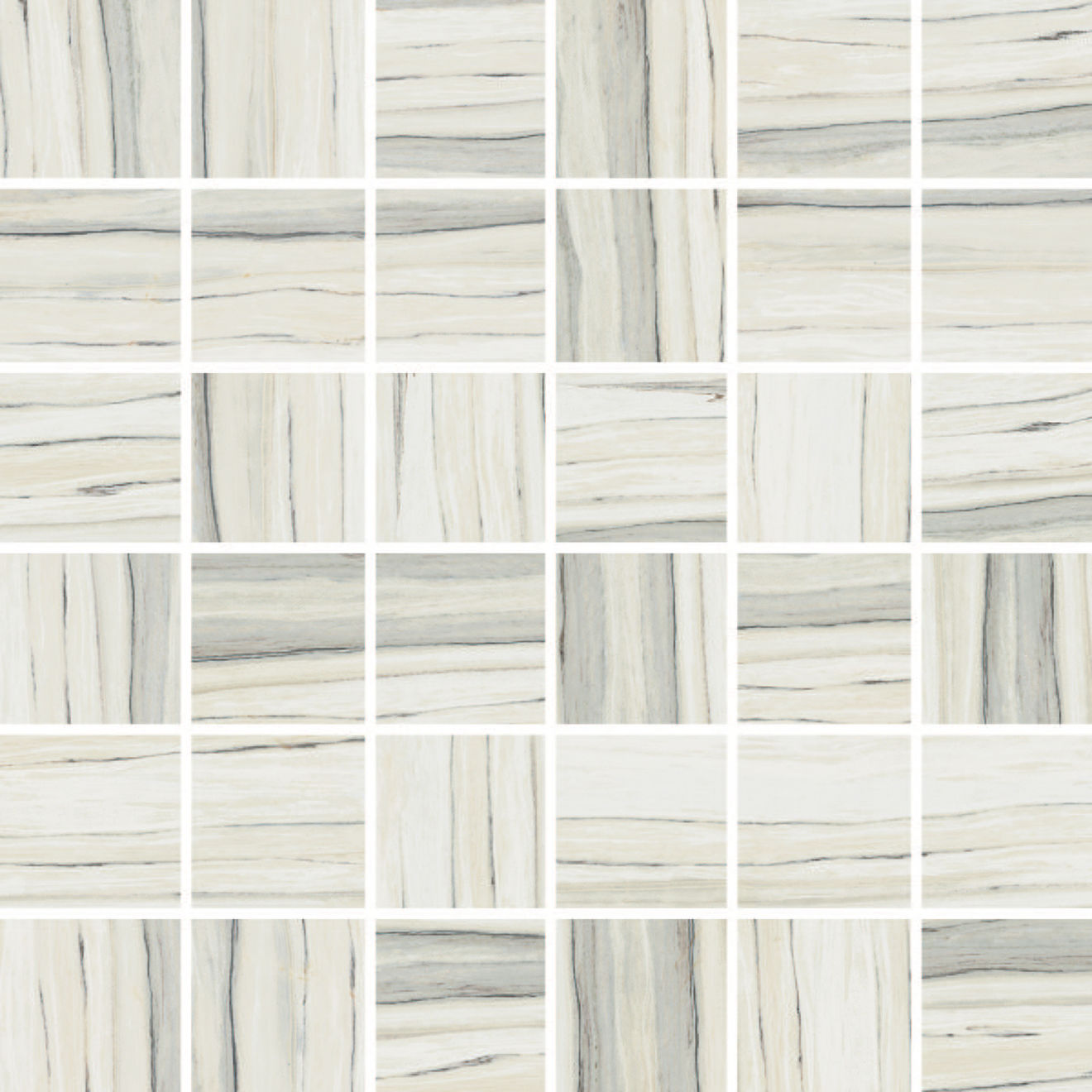 "Zebrino 2"" x 2"" Floor & Wall Mosaic in Calacatta"