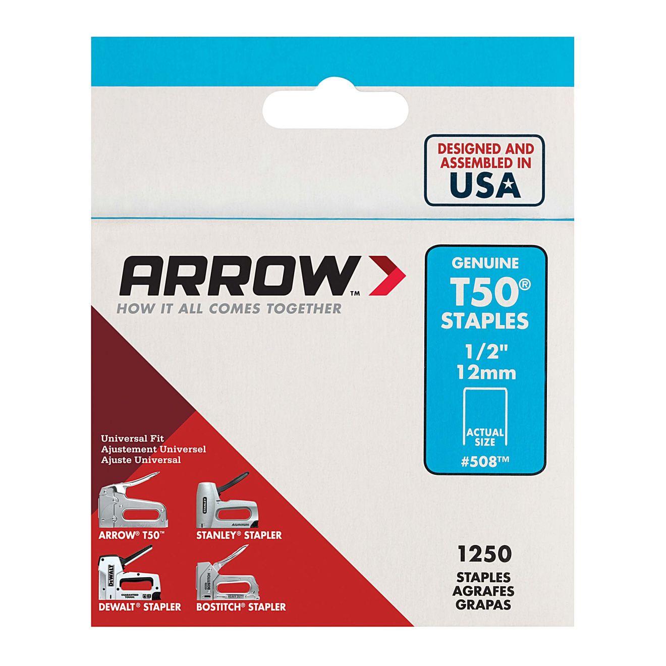 Arrow T50 1/2 in. Staples (1250-Pack)