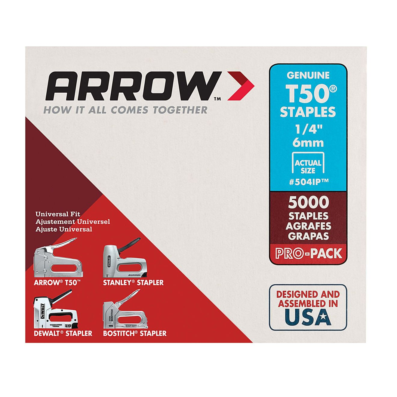 Arrow T50 1/4 in. Staples (5000-Pack)