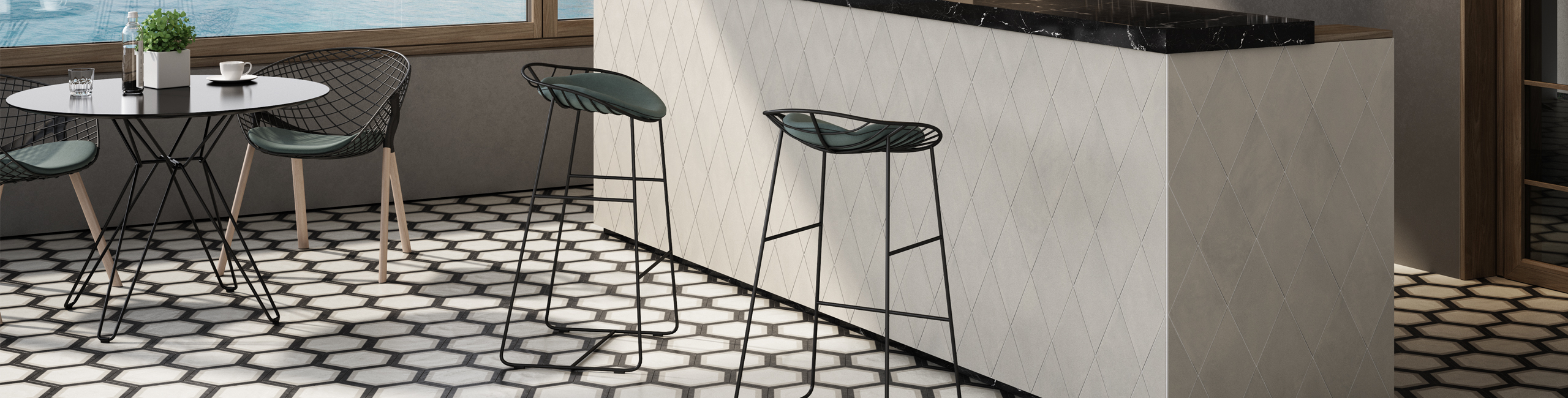 The Allure of Allora Porcelain Tile - Telaio hexagon deco