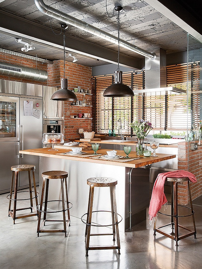 Brick industrial kitchen walls