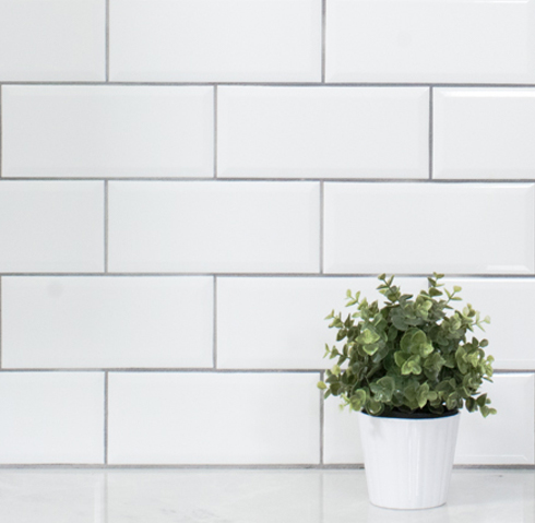 Grey grout with white tile