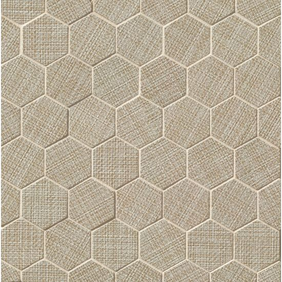 Dagny Fabrique Taupe 2x2 fabric-look porcelain mosaic