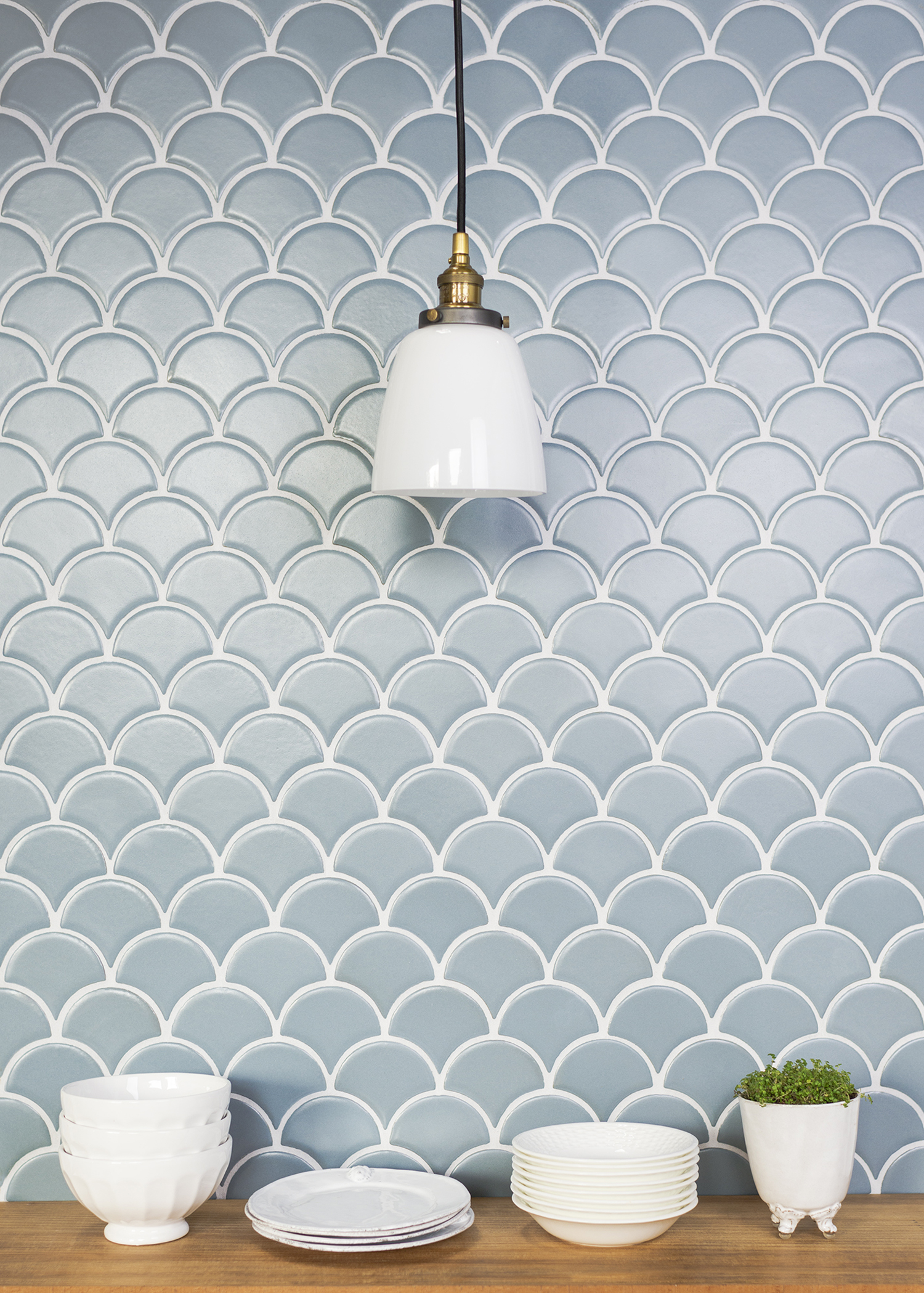 Fish-scale Pattern Backsplash