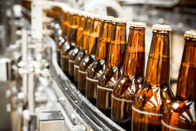 Beers on a bottling line