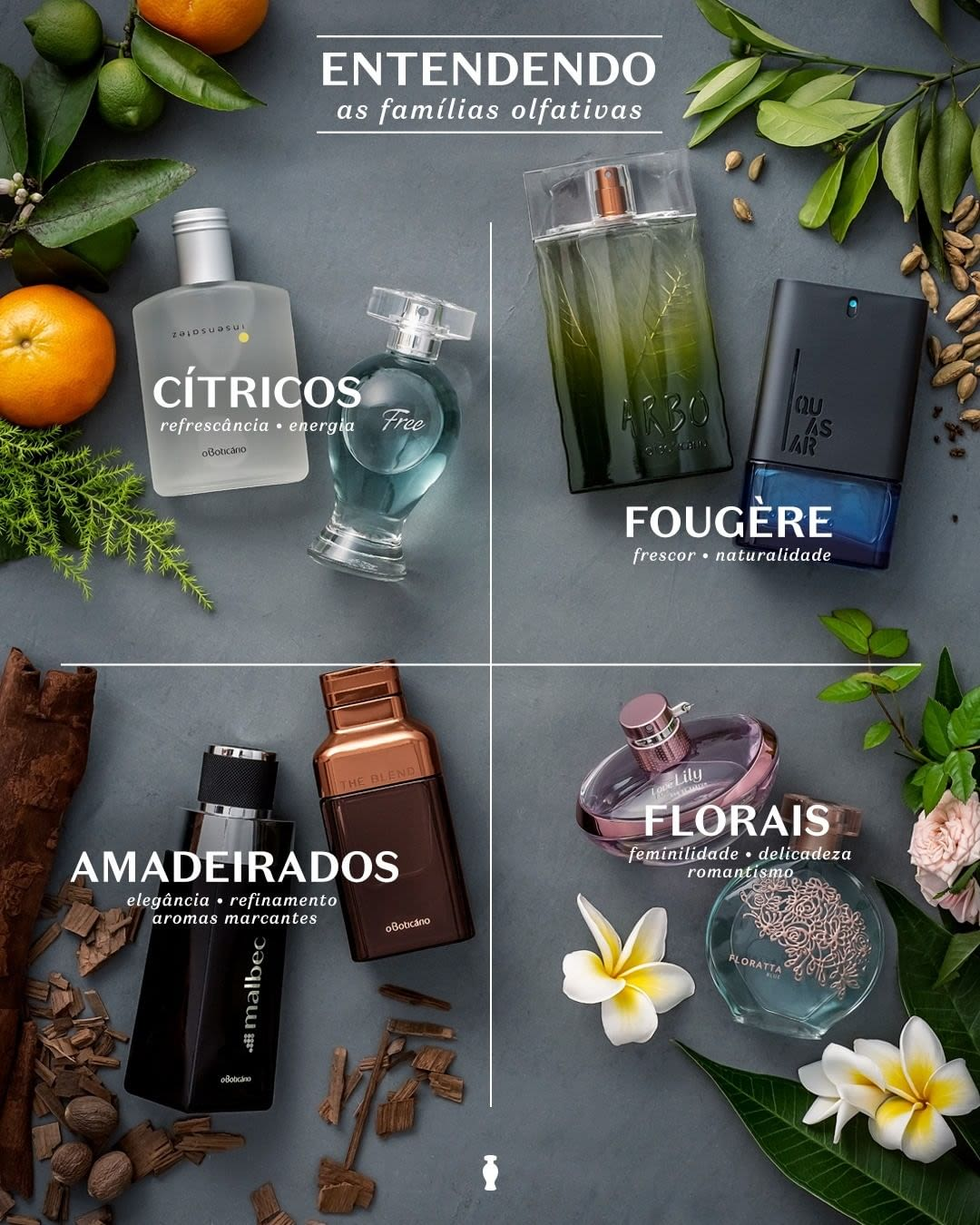 Conheça as fragrâncias do Boticário pela família olfativa