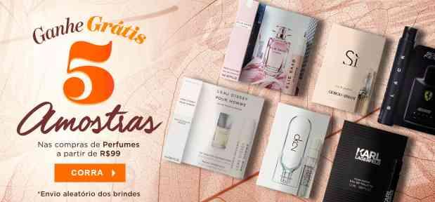 Perfumes: ganhe 5 amostras acima 99