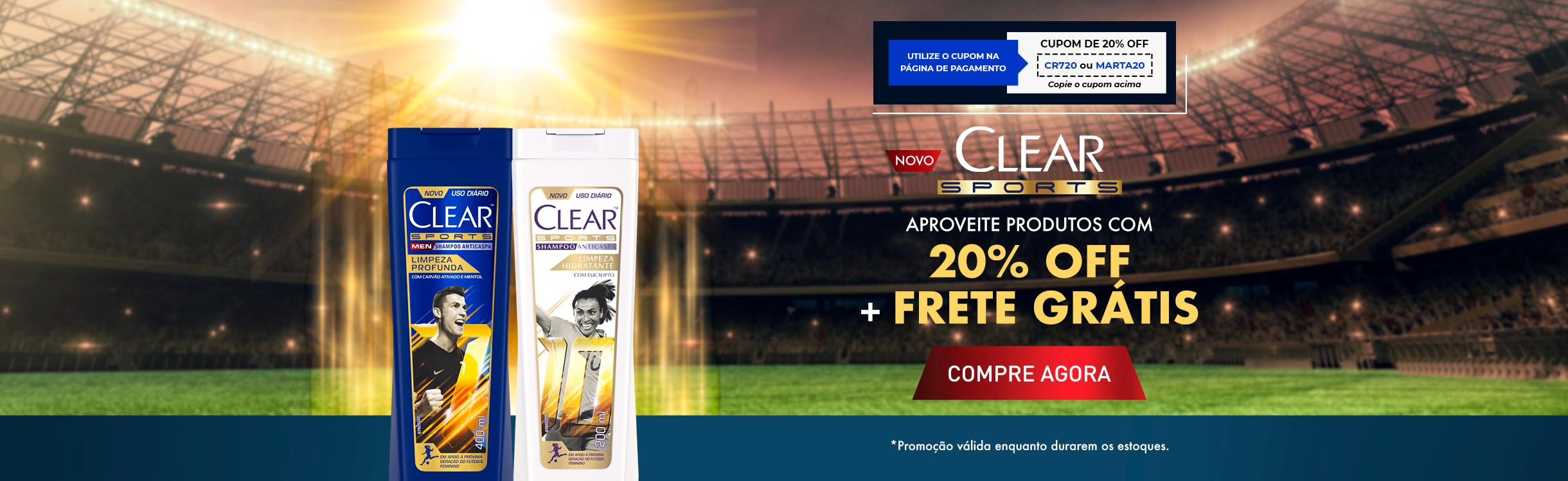 Produtos Clear com 20% OFF + Frete Grátis