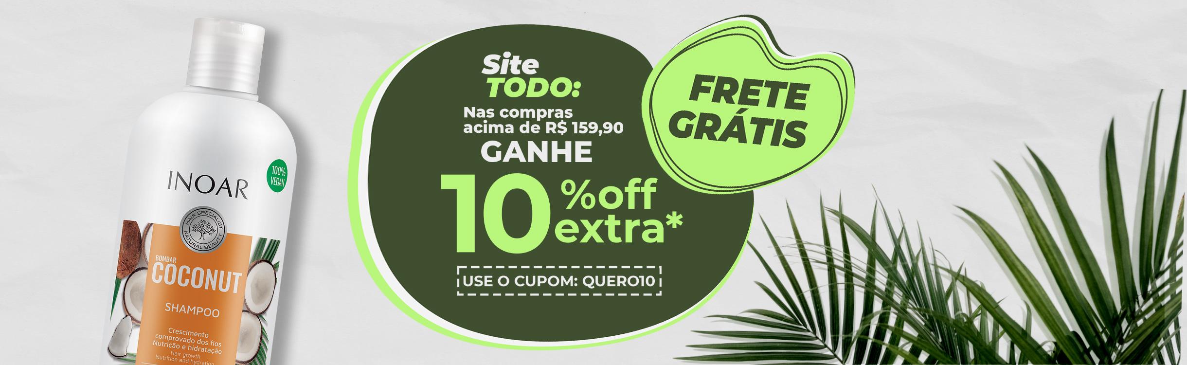 Nas compras acima de R$ 159,90 ganhe 10% OFF Extra