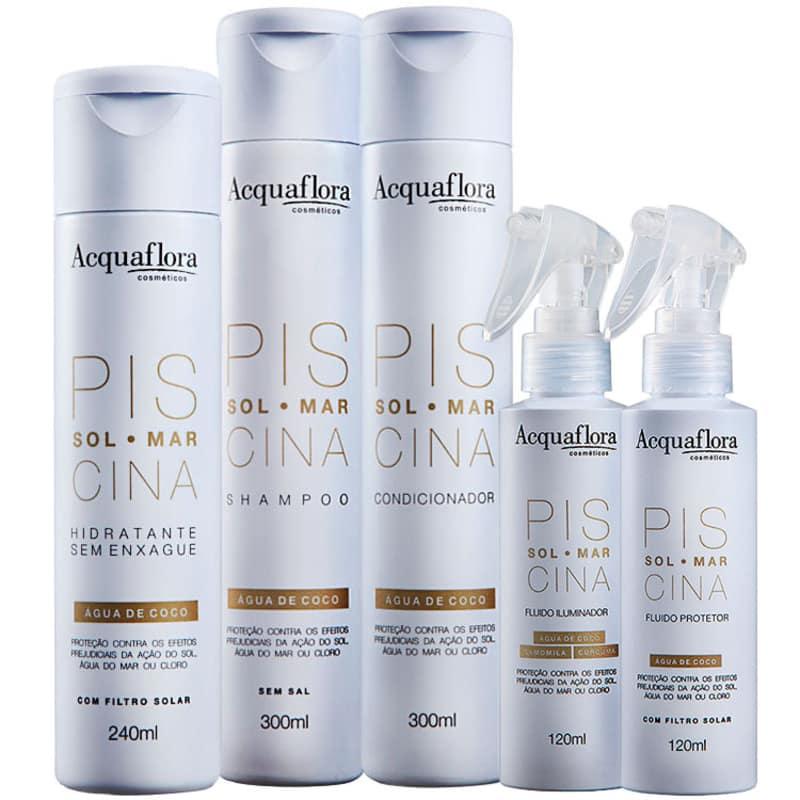 Kit Acquaflora Sol Mar Piscina Protetor Iluminador Hidratante (5 Produtos)