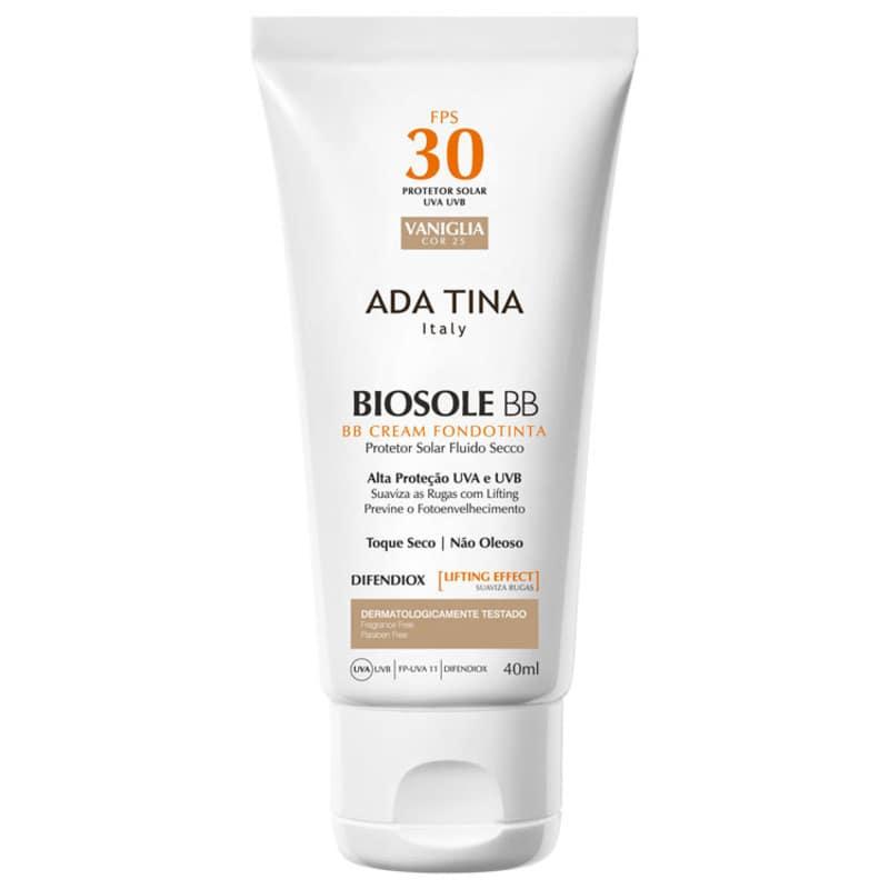 Ada Tina Biosole BB Cream 30 Vaniglia - Protetor Solar com Cor 40ml