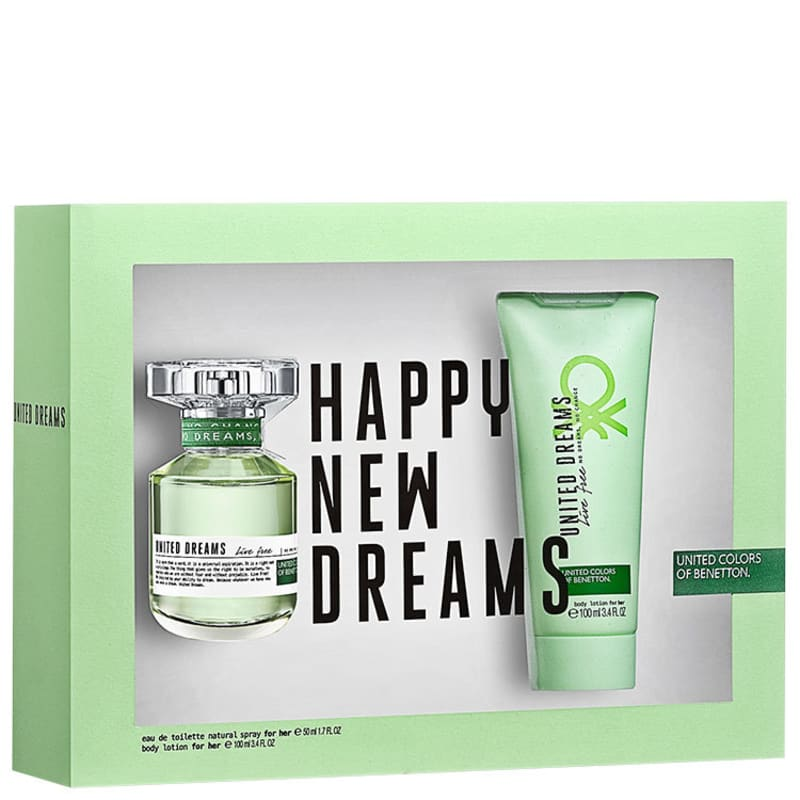 Conjunto United Dreams Live Free Benetton Feminino - Eau de Toilette 80ml + Loção Corporal 100ml