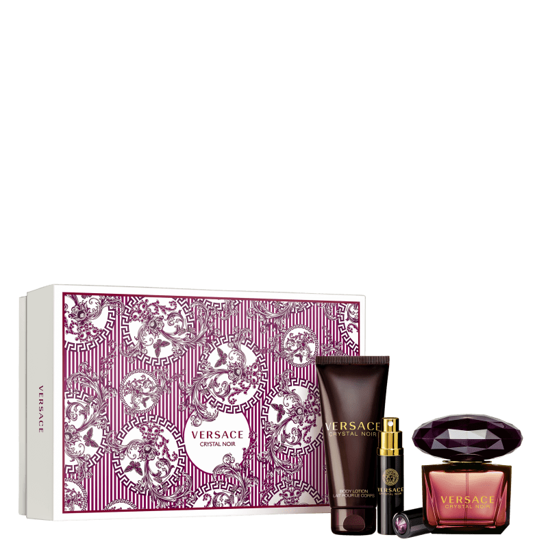 Conjunto Crystal Noir Versace Feminino - Eau de Toilette 90ml + Travel Size 10ml + Loção Corporal 100ml