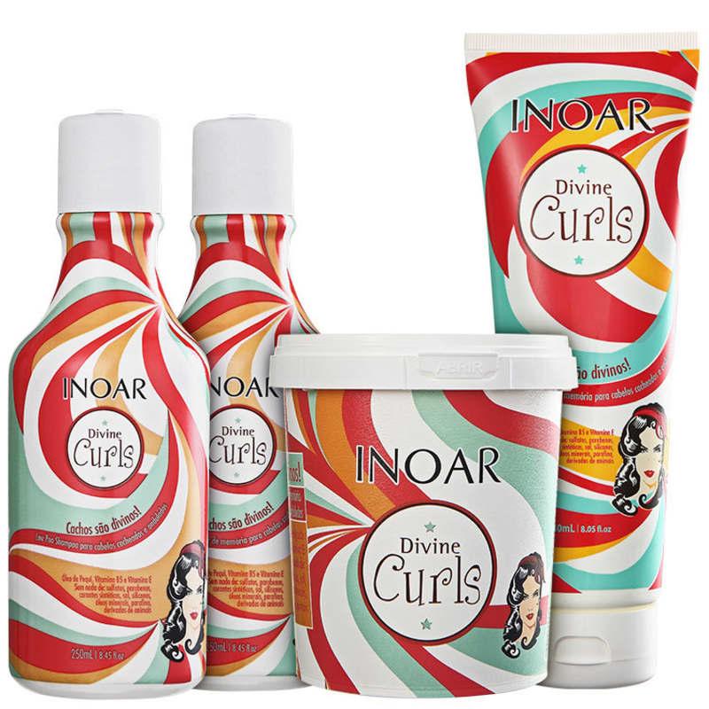 Kit Divine Curls (Shampoo, Condicionador, Máscara e Gel)