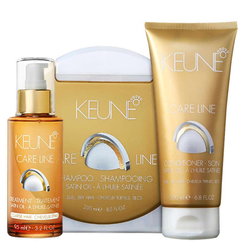 Keune Care Line Satin Oil Coarse Hair Kit (3 Produtos)