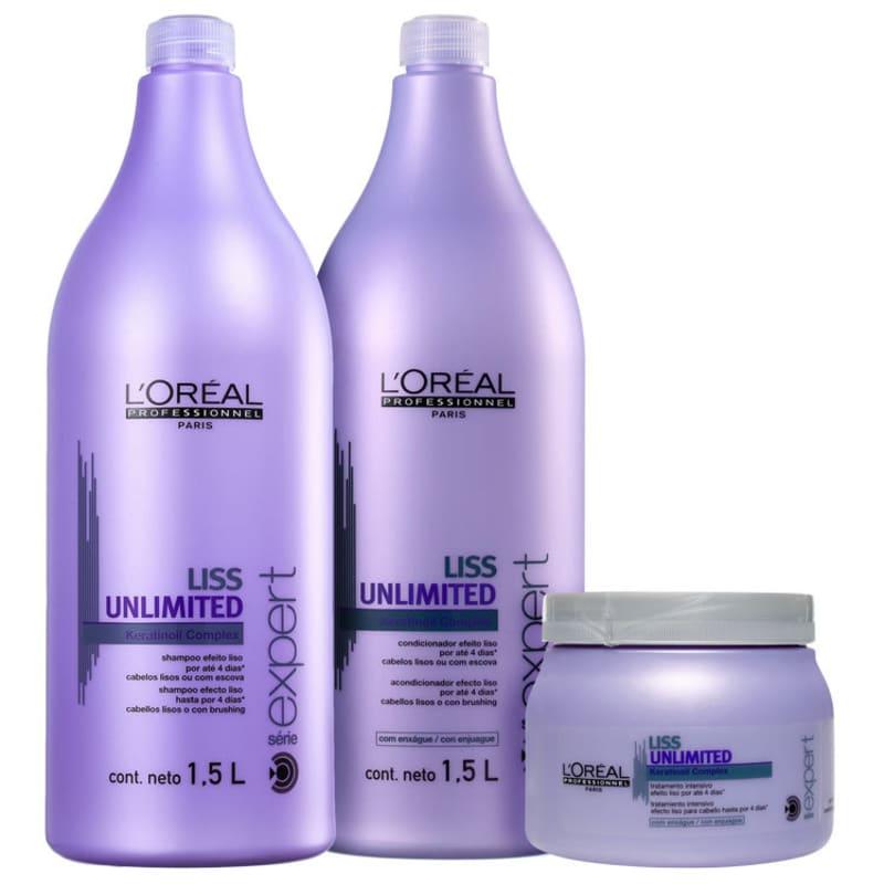 Kit L'Oréal Professionnel Expert Liss Unlimited Salon Treatment (3 Produtos)