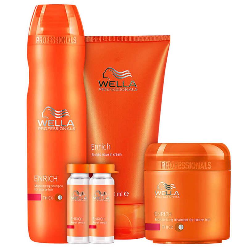 Kit Wella Professionals Enrich Escova Hidratação Poderosa Cabelos Grossos (4 Produtos)