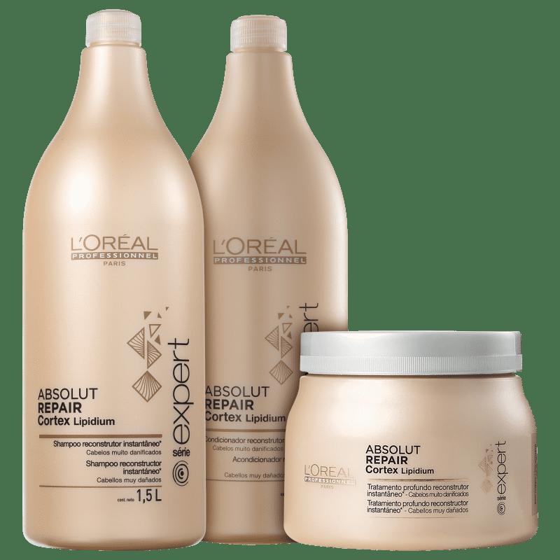 Kit L'Oréal Professionnel Expert Absolut Repair Cortex Lipidium Salão (3 Produtos)