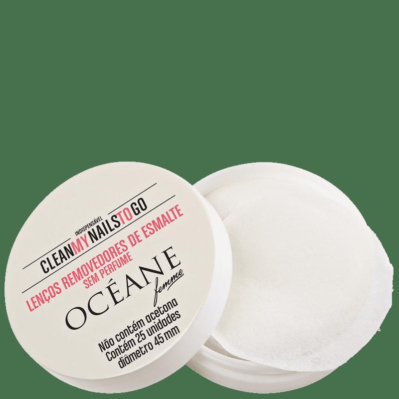 Océane Clean My Nails To Go Sem Perfume com Cartela - Lenço Removedor de Esmalte (25 unidades)