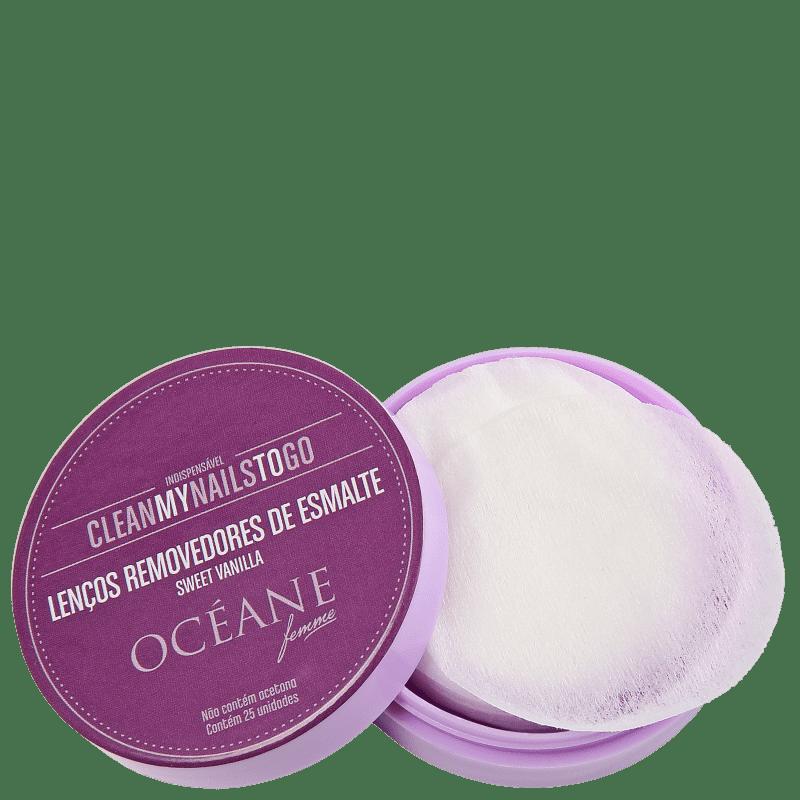 Océane Clean My Nails To Go Sweet Vanilla com Cartela - Lenço Removedor de Esmalte (25 unidades)