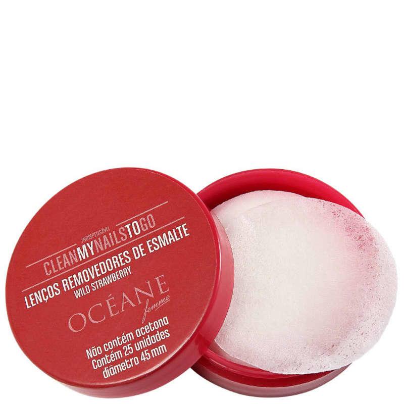 Océane Clean My Nails To Go Wild Strawberry com Cartela - Lenço Removedor de Esmalte (25 unidades)