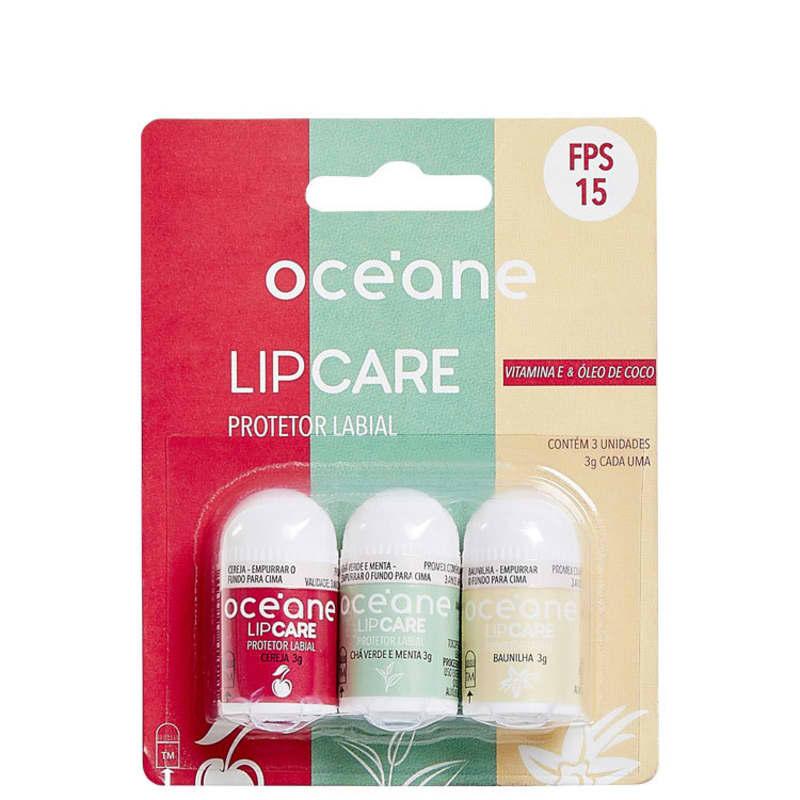 Lip Care - Protetor Labial Cereja, Baunilha e Chá Verde com Menta 3UN