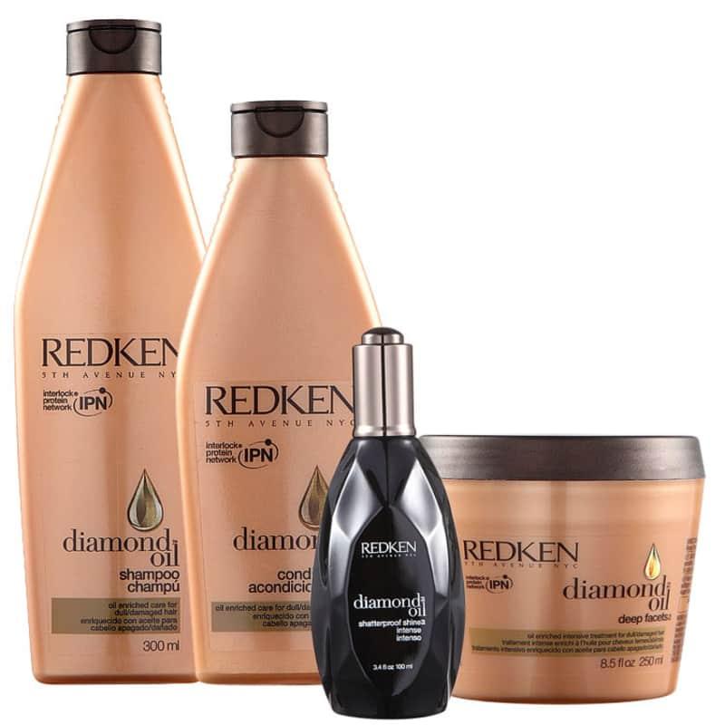 Kit Redken Diamond Oil Facets Shine (4 Produtos)