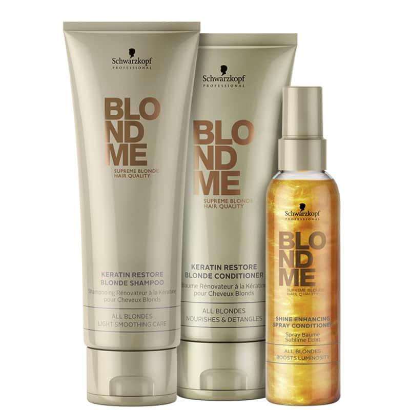 Kit Schwarzkopf Professional BlondMe Keratin Shine (3 Produtos)