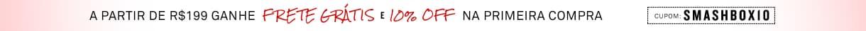 Topo: Cupom de 10% Off e Frete Grátis acima de R$199