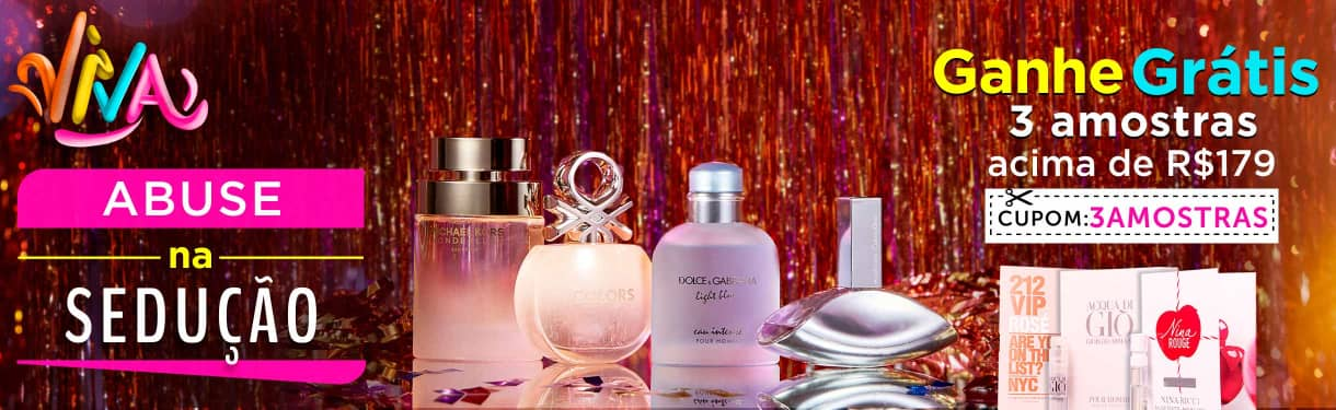Home: Perfumes: ganhe 3 amostras > 179 bannerfita