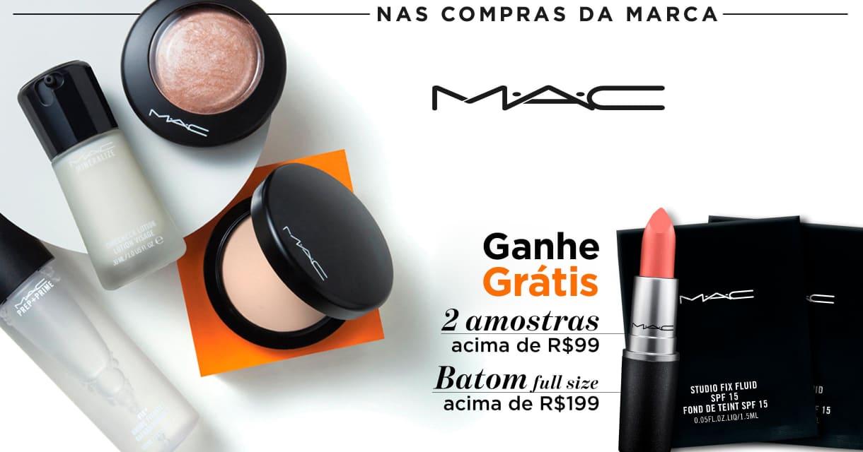 Maquiagem: Mac 2 amostras acima R$99 sku. 74088,74087 + batom full size acima R$199 sku. 62054