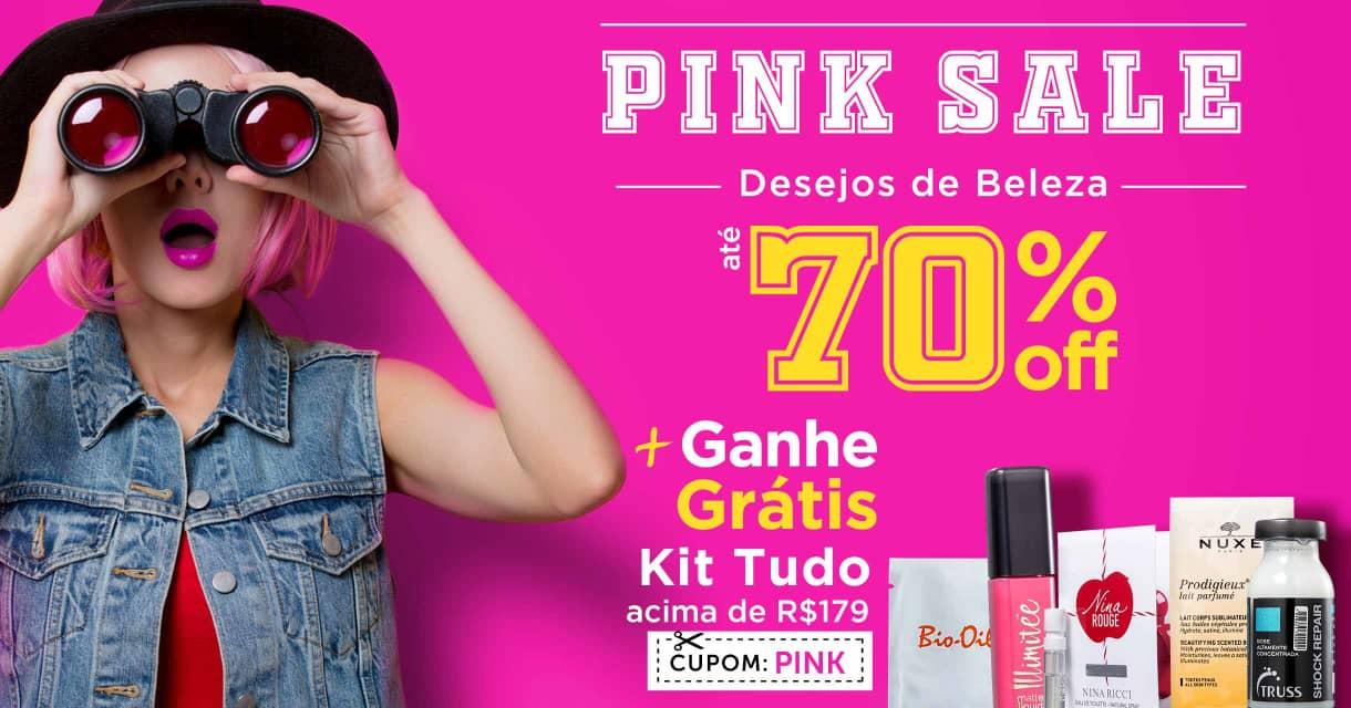Home: Principal: Pink Sale Desejos de Beleza até 70% off + ganhe grátis Kit Tudo acima de R$179