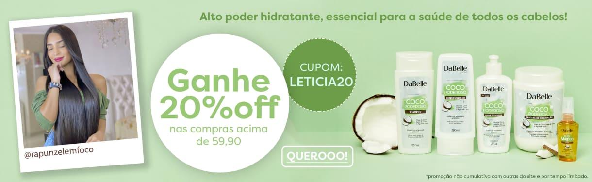 Banner- Leticia Lira (Rapunzel em Foco) Coco Poderoso. 20%off nas compras acima de 59,90