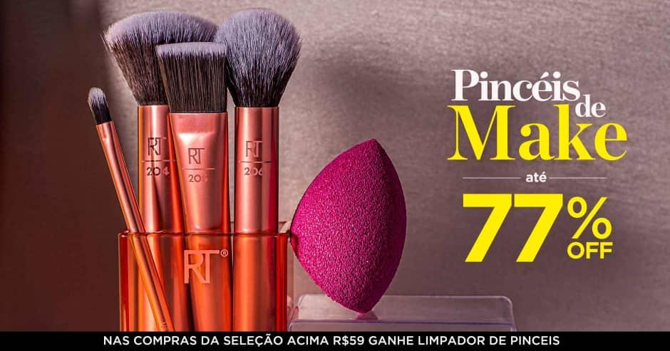 Maquiagem: Pincéis de make até 77% off + ganhe 71514 acima de R$59