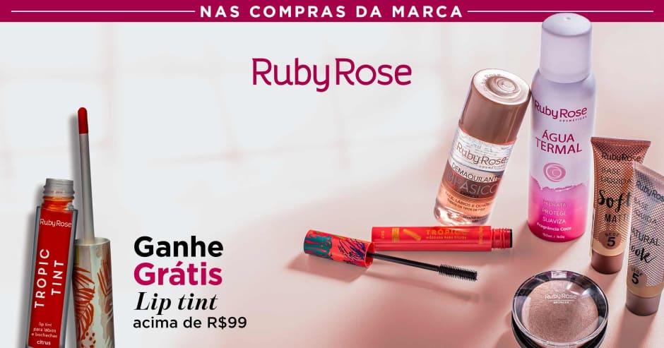 Maquiagem: Ruby Rose: Ganhe grátis lip tint acima R$99 sku. 73594