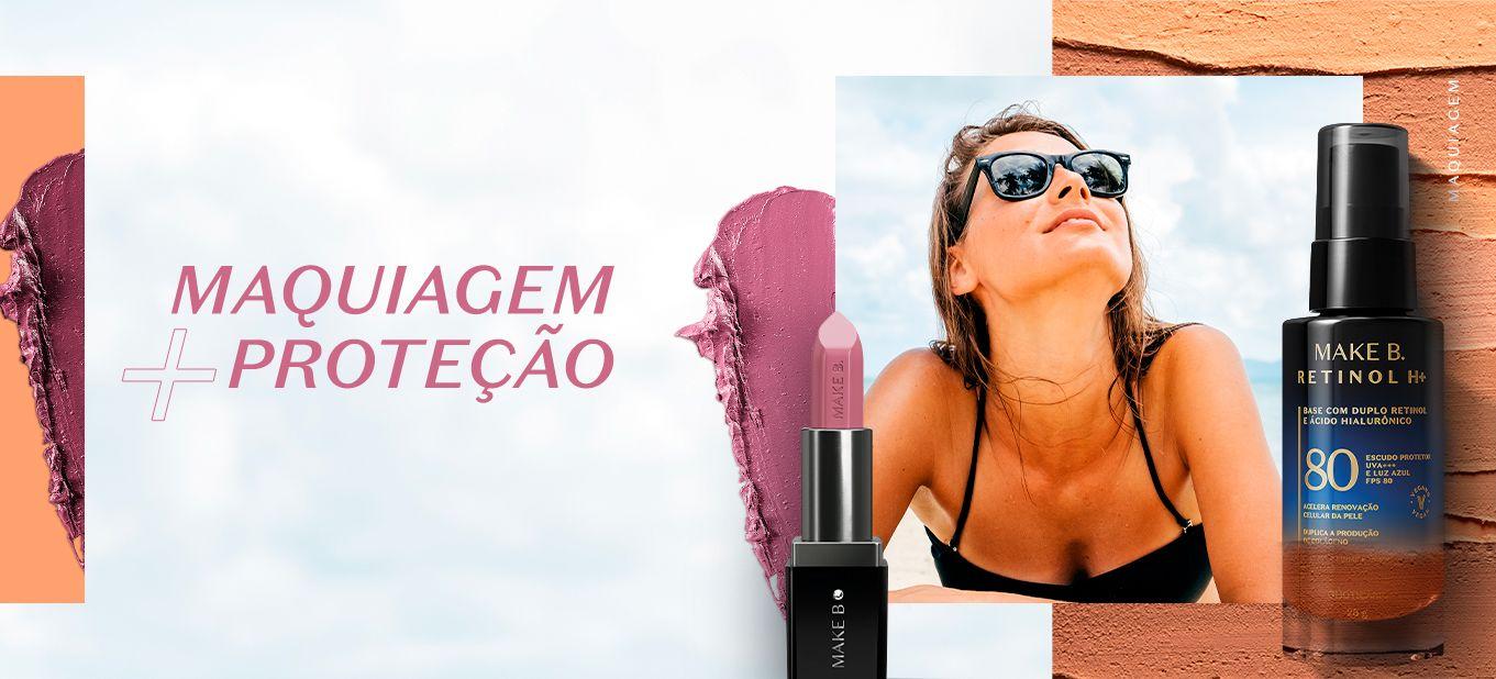 Imagem com mulher de biquini deitada de barriga para baixo e óculos. Dois cosméticos na imagem: um batom e uma base. Texto na imagem: Maquiagem + proteção