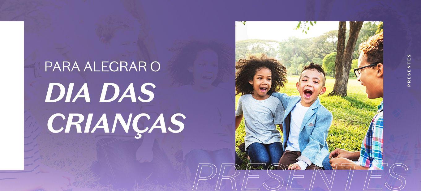 Imagem com três crianças sorrindo, fundo roxo e a frade: para alegrar o dia das crianças