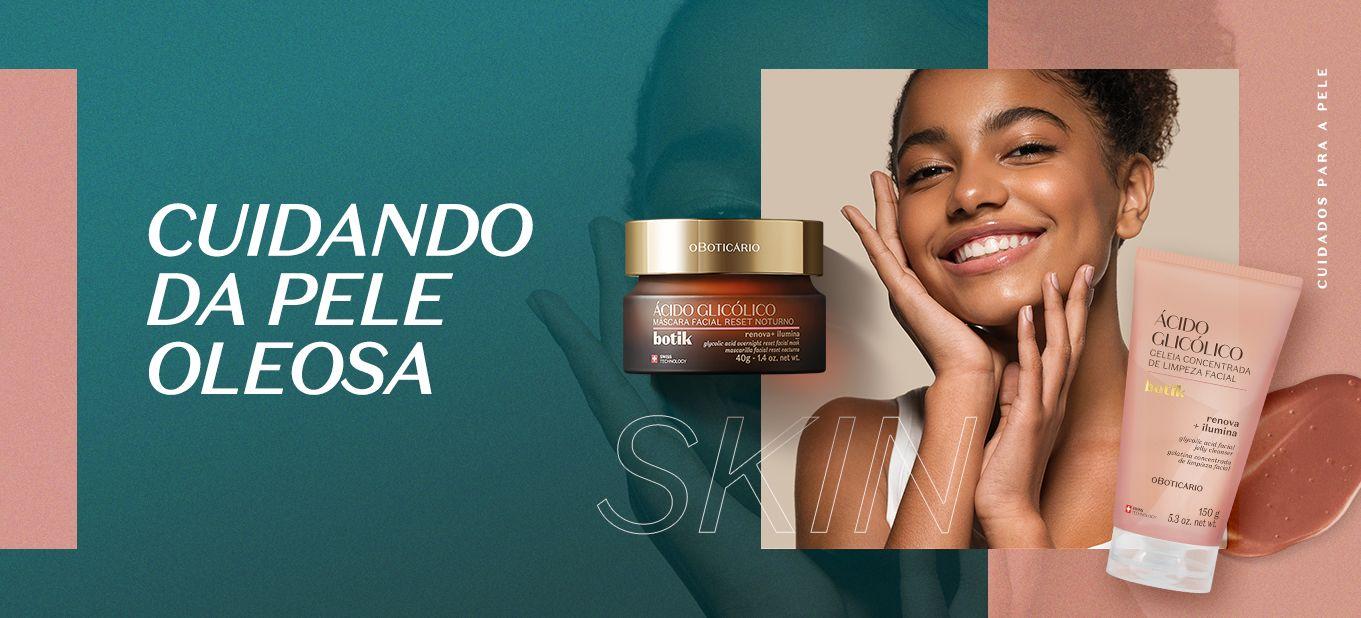 Skincare para pele oleosa com Botik: imagem de mulher negra, um produto da marca Botik e a frase cuidando a pele oleosa