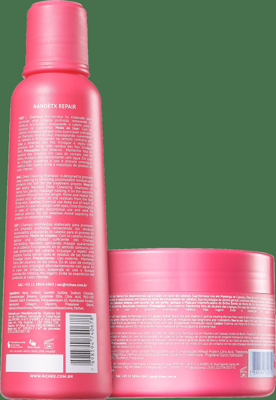 ad490295e Kit Richée Professional Nano Botox Repair Banho de Verniz (2 Produtos)